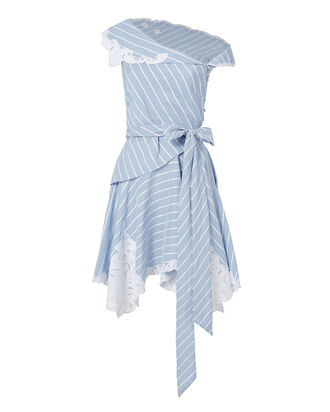 Off Shoulder Lace Stripe Mini  Dress, BLUE-MED, hi-res