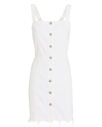 Kennedy Denim Pinafore Dress, WHITE, hi-res