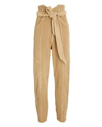 Paperbag Cotton Terry Pants, BEIGE, hi-res