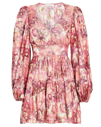 Willis Floral Devoré Mini Dress, PINK/GOLD, hi-res