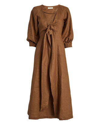 Asilah Linen Tie Front Dress, TOBACCO, hi-res