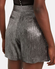 Striped Lamé Walking Shorts, SILVER, hi-res