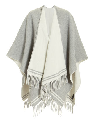 Striped Grey Poncho, MULTI, hi-res