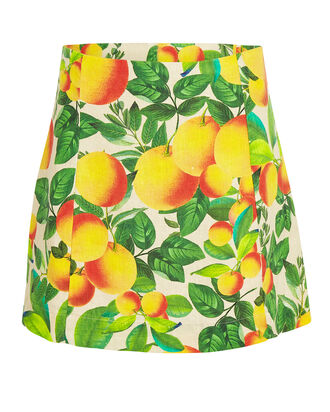 Orange Sands Linen Mini Skirt, YELLOW/GREEN, hi-res