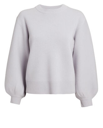 Puff Sleeve Sweater, BLUE GREY, hi-res