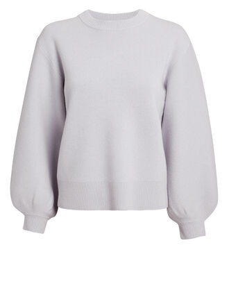 Puff Sleeve Cashmere Sweater, PURPLE-LT, hi-res