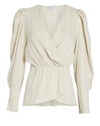 Corinne Draped Wrap Blouse, BEIGE, hi-res