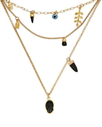 New It's All Right Layered Necklace, BLACK, hi-res