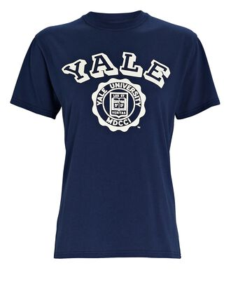 Yale Cotton T-Shirt, NAVY, hi-res