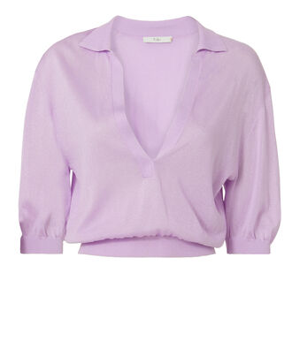 Crispy Cropped Polo Pullover, PURPLE-LT, hi-res