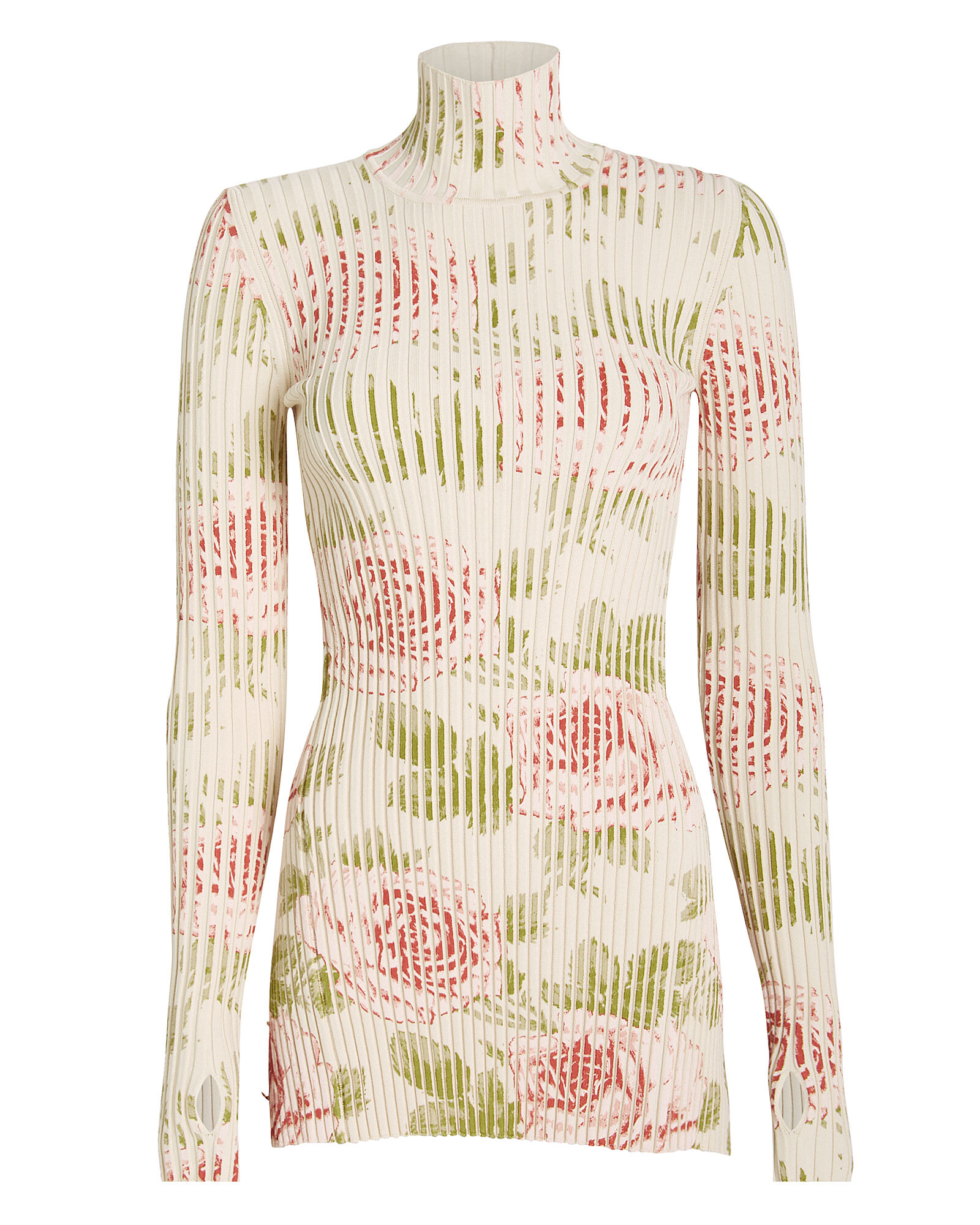 Ribbed Rose Print Turtleneck, IVORY, hi-res
