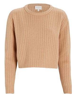 Cropped Wool-Cashmere Sweater, BEIGE, hi-res