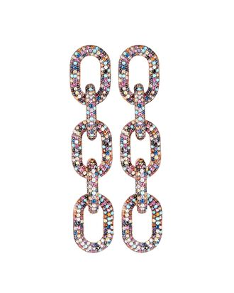 Pavé Crystal Chain-Link Earrings, MULTI, hi-res