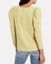 Mira Crepe Puff Sleeve Blouse, YELLOW, hi-res