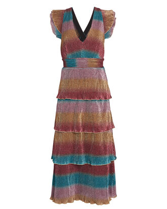 Marika Striped Plissé Midi Dress, , hi-res