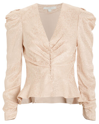 Satin Jacquard Ruched Blouse, BLUSH/ANIMAL PRINT, hi-res