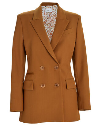 Archie Drill Wool Double Breasted Blazer, CAMEL, hi-res