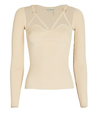 Janine Rib Knit Cage Top, IVORY, hi-res