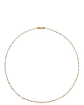 Tish Crystal Tennis Necklace, GOLD, hi-res