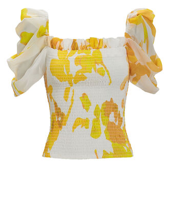 Arina Smocked Floral Top, IVORY/YELLOW, hi-res