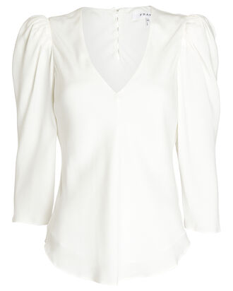 Shirred Silk Crepe Blouse, WHITE, hi-res