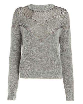 Blaze Metallic Net Sweater, GREY, hi-res