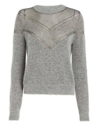 Metallic Net Sweater, GREY, hi-res