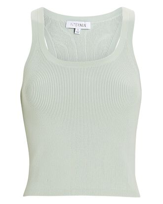 Emily Cropped Knit Tank Top, LIGHT GREEN, hi-res