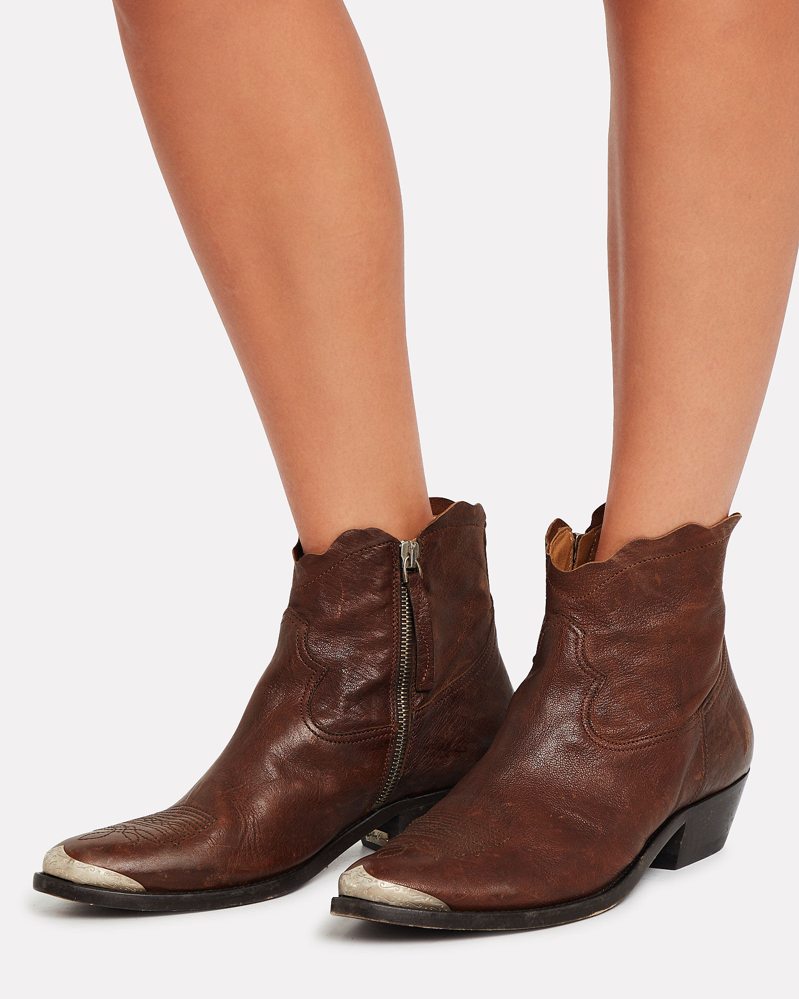 Young Leather Western Booties, MAHOGANY, hi-res