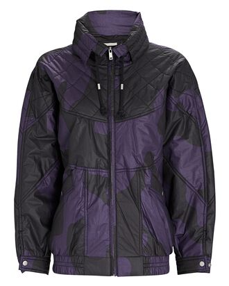 Diaomia Quilted Printed Cotton Jacket, BLACK, hi-res