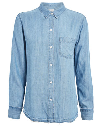Elliot Chambray Button Down Shirt, DENIM, hi-res