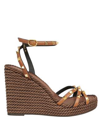 Rockstud Braided Wedge Sandals, BROWN, hi-res