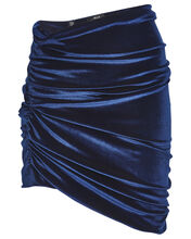 Cyrus Ruched Velvet Mini Skirt, NAVY, hi-res