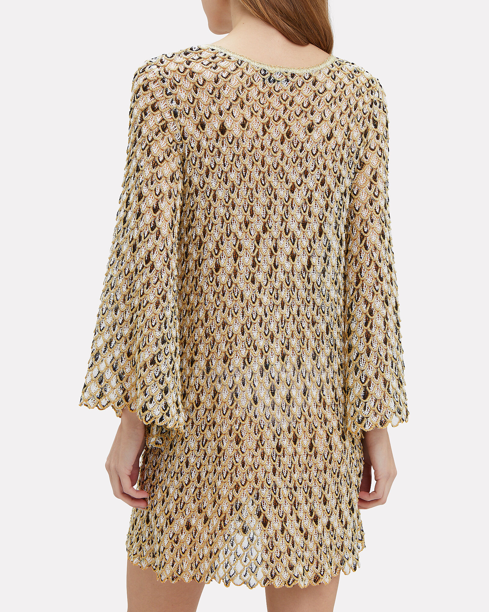 Knit Kaftan, BLACK/WHITE/GOLD, hi-res
