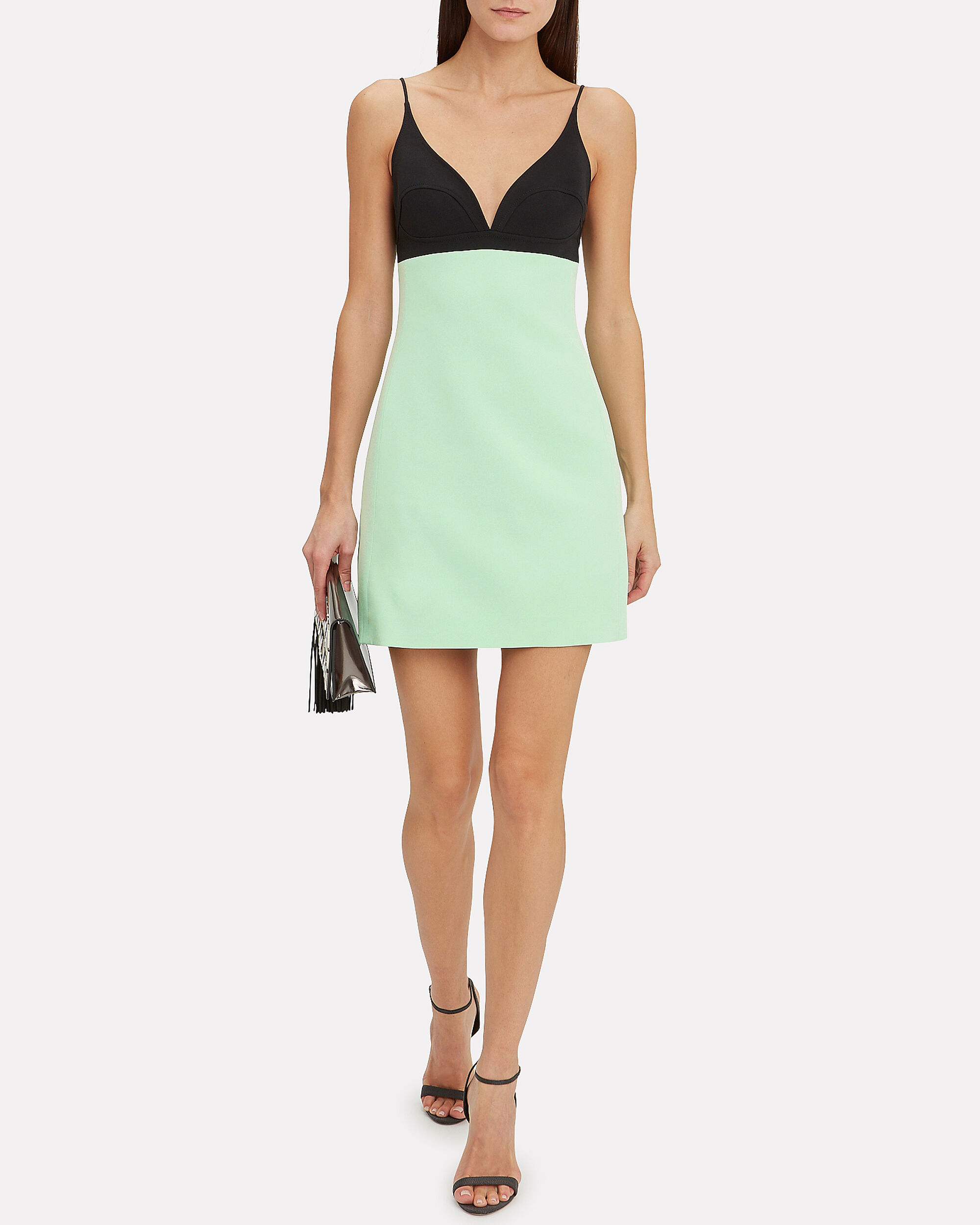 Contrast Bra Strappy Mini Dress, MINT/BLACK, hi-res