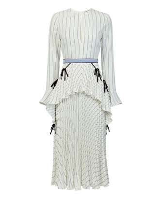 Monochrome Striped Pleated Dress, WHITE, hi-res