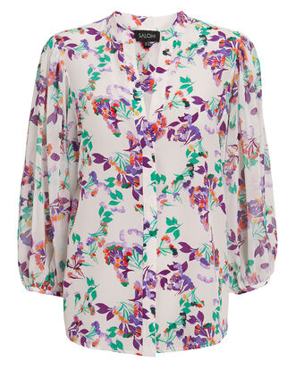 Chloe Floral Blouse, WHITE/PURPLE/GREEN, hi-res