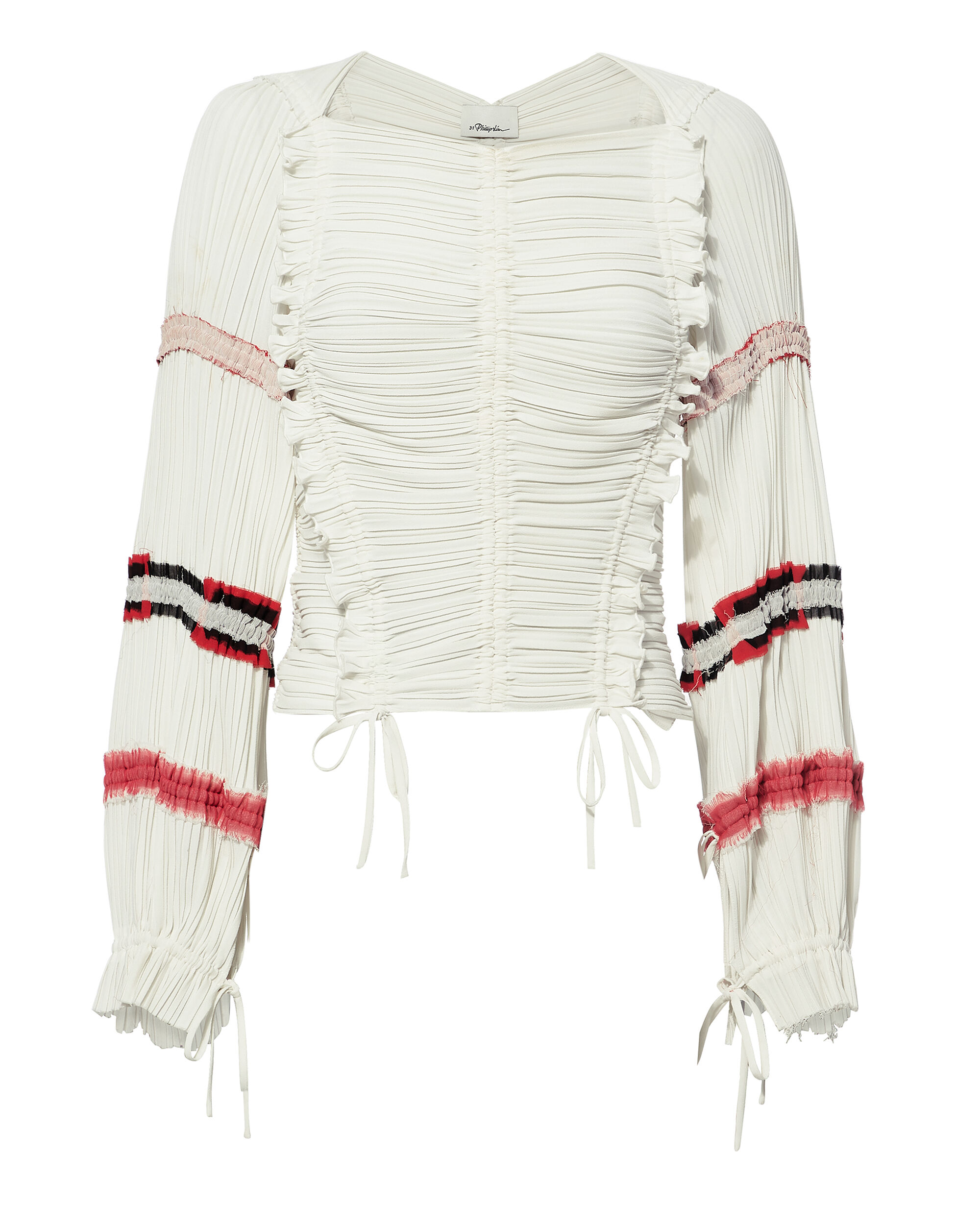 3.1 PHILLIP LIM Gathered Long-Sleeve Ruffle Top in White