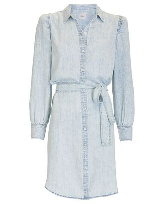Adele Chambray Puff Sleeve Dress, LIGHT BLUE, hi-res