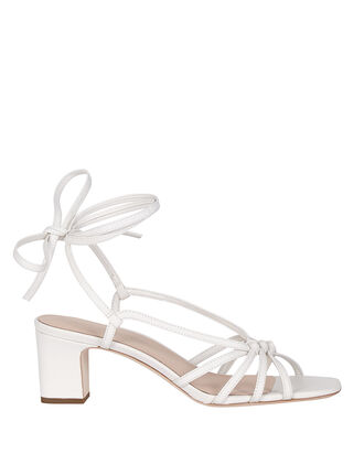Libby Knotted Leather Sandals, WHITE, hi-res