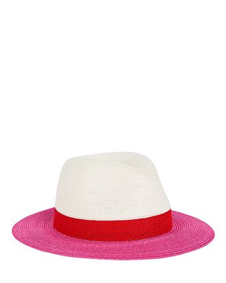 Lillian Colorblock Straw Fedora, WHITE/PINK, hi-res