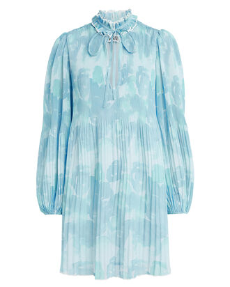 Pleated Georgette Floral Dress, BLUE/FLORAL, hi-res