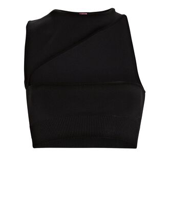 Rimini Asymmetrical Crop Top, BLACK, hi-res