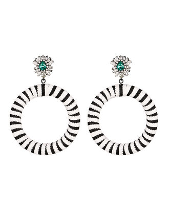 Lolita Stripe Round Earrings, BLK/WHT, hi-res