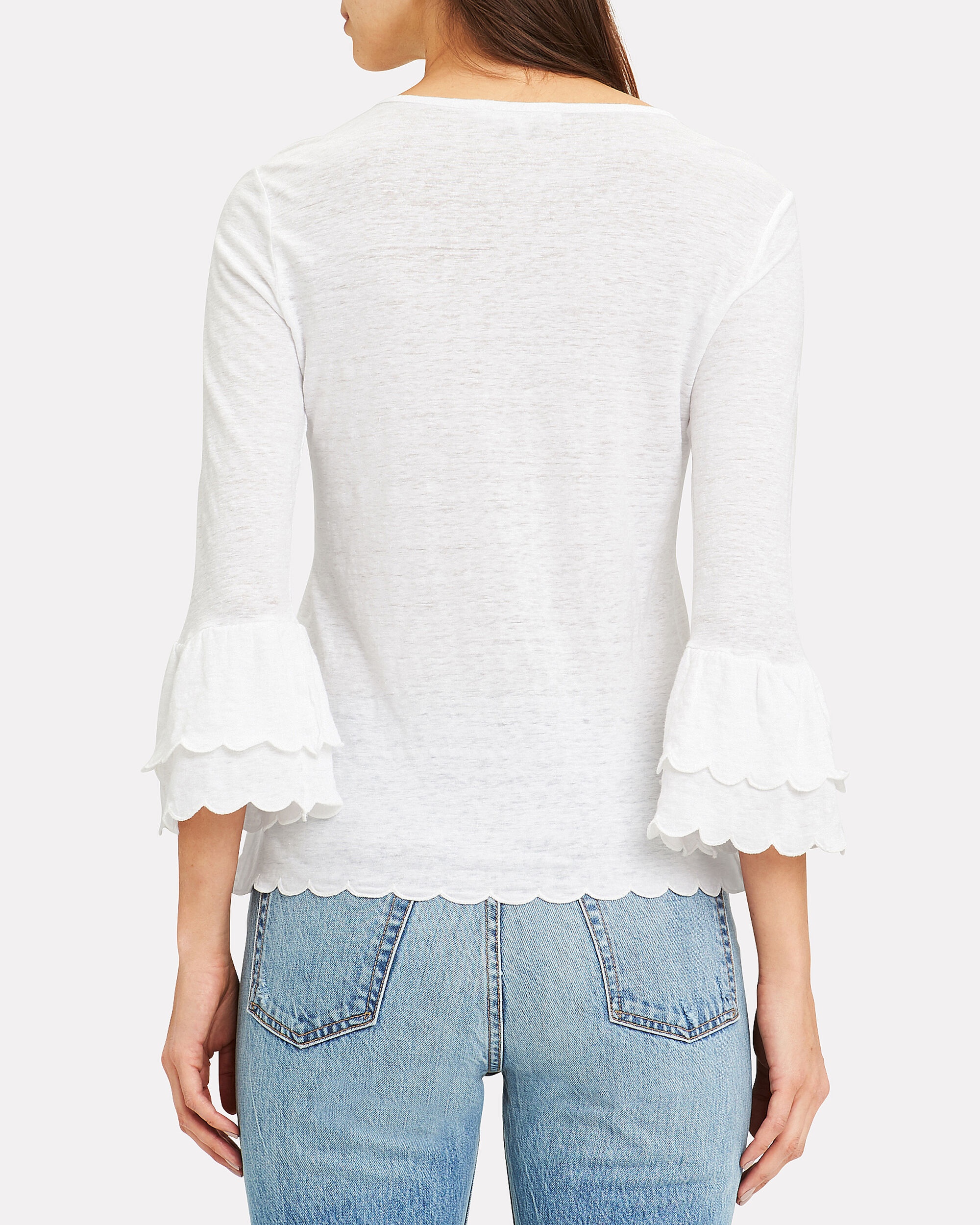 Scalloped Bell Sleeve Top, WHITE, hi-res