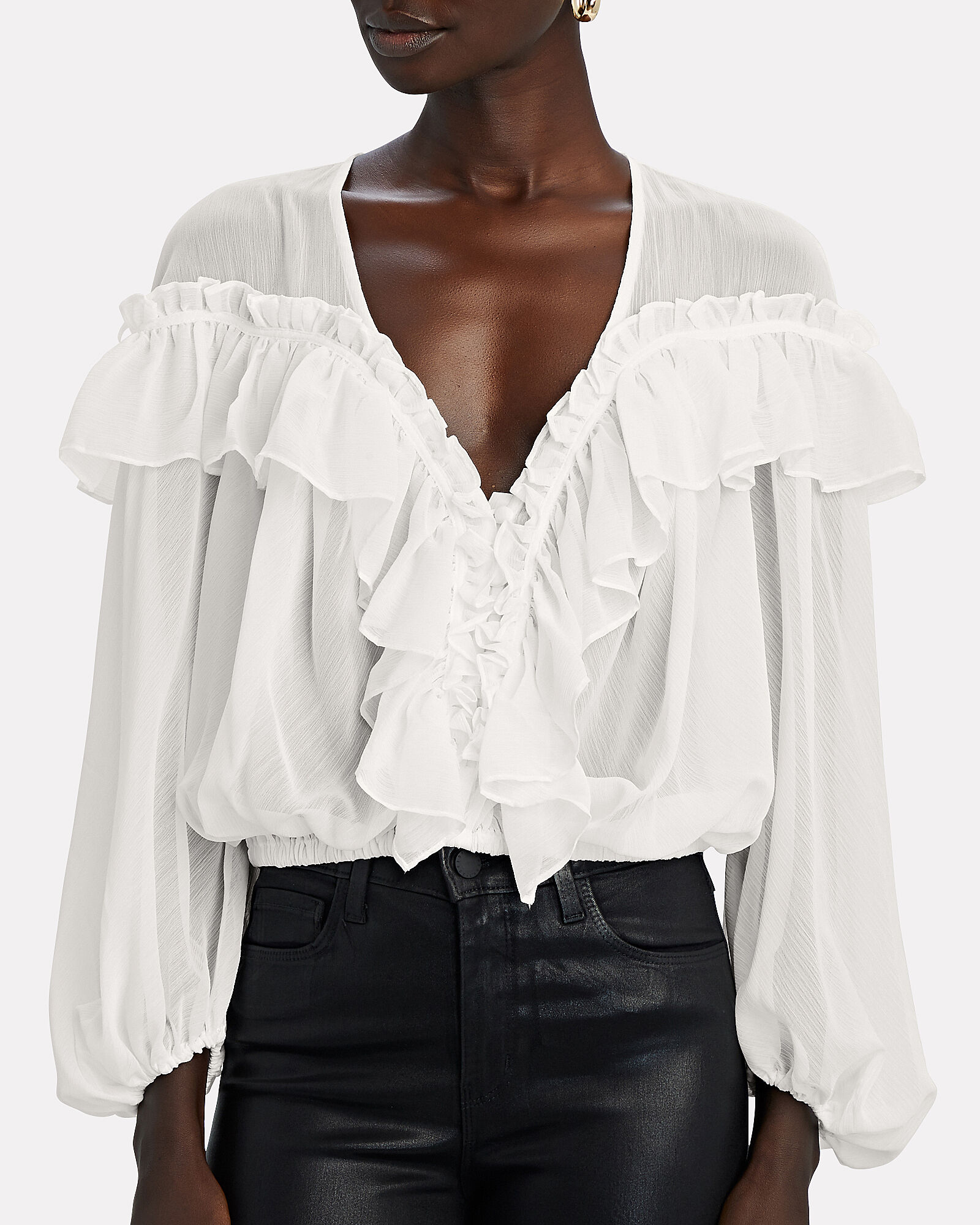 Ruffled Chiffon Blouse, WHITE, hi-res