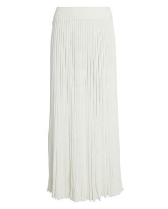 Pleated Knit Button Skirt, IVORY, hi-res