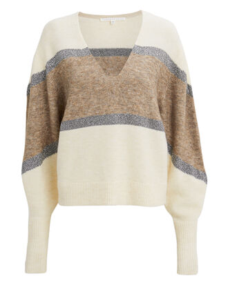 Miley Lurex Stripe Sweater, IVORY/STRIPE, hi-res