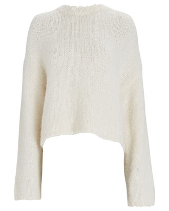Alpaca-Wool Crewneck Sweater, IVORY, hi-res