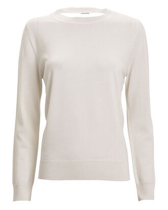Draped Back Merino Wool Top, IVORY, hi-res